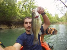 """Caption is: """"His face every time I catch a fish"""" > HAHAHAHA, this dog!!"""