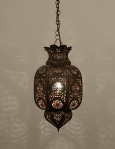 For An Authentic Moroccan Element To Your Space This Traditional Hanging Lamp Will Sit Well Create Intimate Patterned Light Through Its Hand Pierced