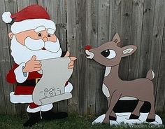 Santa and Rudolph by HolidayYardArt on Etsy