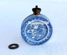 Vintage Perfume Bottles   Rare Antique Royal Doulton Blue Willow Perfume Cologne Snuff Bottle ...