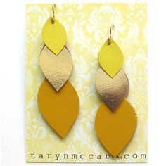 Yellow Trio Leather Earrings
