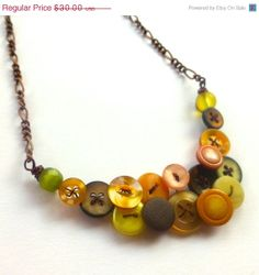 Gold Peach Olive Brown Necklace with by buttonsoupjewelry,