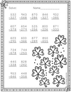 Patrick's Day Themed 3 Digit Subtraction With Regrouping Math Practice Worksheets, 2nd Grade Worksheets, Printable Math Worksheets, Montessori Math, Homeschool Math, Abacus Math, Free Kids Coloring Pages, Math Exercises, Math Pages