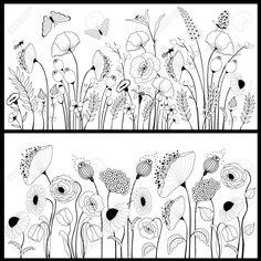 Set of floral banners in white and black Ein Satz von floral Banner in Weiß und Schwarz Lizenzfreies vektor illustration The post Set of floral banners in white and black appeared first on Ideas Flowers. Doodle Drawings, Doodle Art, Pencil Drawings, Drawn Art, Floral Banners, Floral Drawing, Flower Doodles, Zentangle Patterns, Free Vector Art