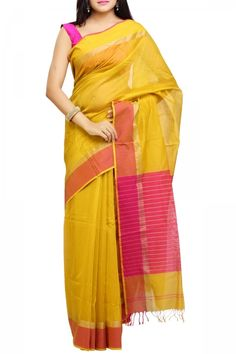Yellow & Fuschia Cotton Silk Maheshwari Saree