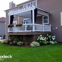 Custom vinyl pergola with mosquito curtains -  - Archadeck of Chicagoland