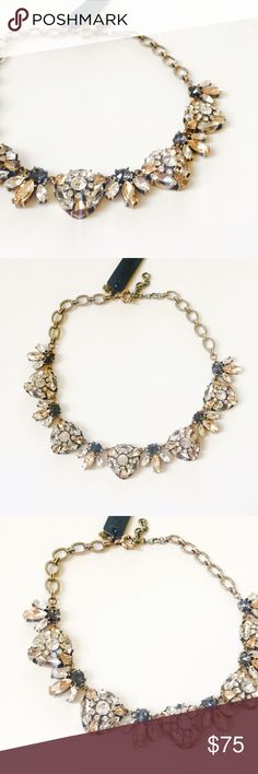 "Brand new J. Crew statement necklace Brand new gorgeous vintage style statement necklace. Beautiful antique gold with shiny Crystal elements in different shades. Perfect for special occasions. About 15"" with 2"" extender. J. Crew Jewelry Necklaces"