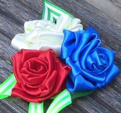 Rosas em Fitas feitas com nó Passo a Passo - Roses in satin ribbons