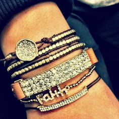 Crystal bar leather bracelet 32.00