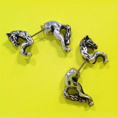 Rodeo Western Texas Silver Double Sided HORSE Earrings Cowgirl Uniklook JEWELRY #uniklookJewelry #earrings