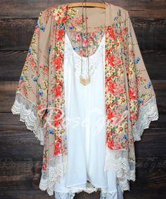 Stylish Collarless Long Sleeve Laciness Floral Print Women's Kimono Blouse Blouses | RoseGal.com Mobile
