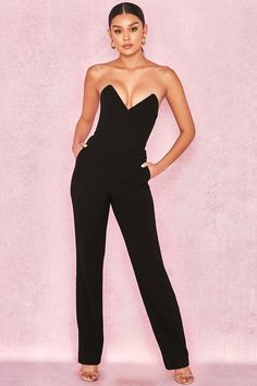 8fd9cfce9d25 Clothing   Jumpsuits    Lucille  Black Crepe Boned Strapless Jumpsuit  Tailored Trousers