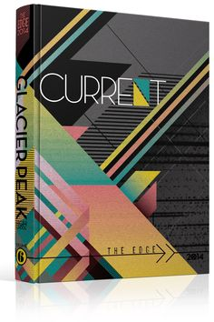 "Yearbook Cover - Glacier Peak High School - ""Current"" Theme - Lines, Slanted Lines, Triangles, Angles, Geometric, Abstract, Yearbook Ideas, Yearbook Idea, Yearbook Cover Idea, Book Cover Idea, Yearbook Theme, Yearbook Theme Ideas"