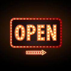 Neon Open Sign, Open Signs, We Are Open Sign, Neon Wallpaper, Black Wallpaper, Neon Design, Logo Design, Neon Quotes, Neon Words