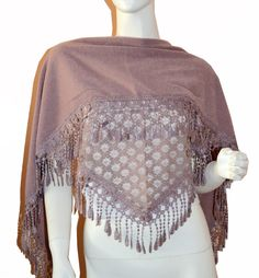 Soft Maroom Triangle Knit & Lace Fashion Scarf