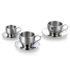 UName Insulated Stainless Steel Double Walled Coffee Cup/Tea Cup with Saucer, 250 ml,8.5oz,UN052