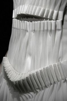 Pleated dress detail with use of fabric manipulation to create an experimental structure - fashion construction; creative sewing // Glenn Martens