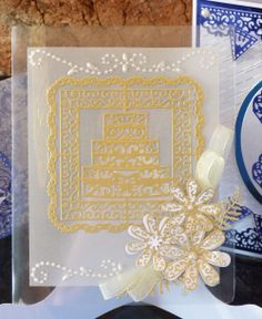 Tattered Lace - Doily Cake Square Detailed and delicate, Tattered Lace Dies are the most intricate dies available. Acetate Cards, Tattered Lace Cards, Anniversary Cards, Wedding Anniversary, Paper Crafts, Diy Crafts, Lace Doilies, Piece Of Cakes, Wedding Cards