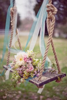 Pretty... Love this for spring! That swing, such a special touch. Spring wedding flowers
