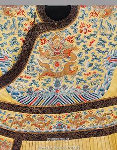 Yellow court robe, detail. China, late 19th century