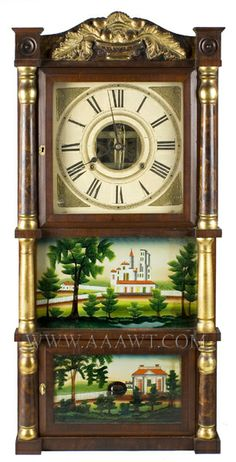 Original glasses and putty, faux smoked decoration, retains good label A mahogany containing 30-hour movement; case with carved gesso and gi...http://www.aaawt.com/