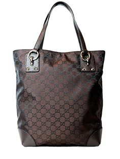 Gucci Nylon Leather Tote Shoulder Handbag in Brown
