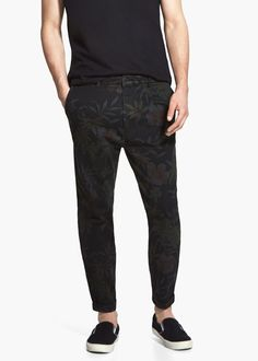Floral-print cotton chinos