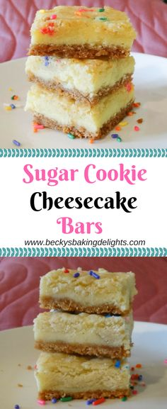 These delicious sugar cookie cheesecake bars consist of a golden Oreo crust and homemade sugar cookies nestled between a sweet cream cheese filling.
