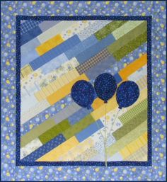 Diagonal Strips Baby Quilt with Balloons Tutorial #quilting #baby. So many possibilities. Via http://www.victorianaquiltdesigns.com/VictorianaQuilters/BlockoftheMonth/BlockoftheMonth.htm