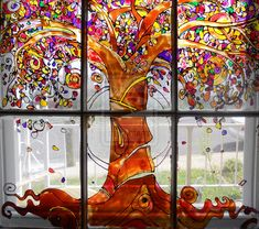 Fall Tree Glass Painting, nice inspiration especially if privacy is needed or view is bad