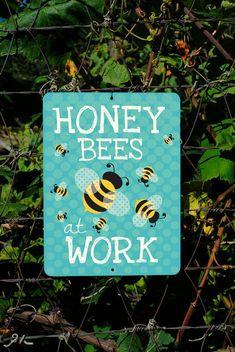 Oh Mom! Honey Bees At Work Seafoam 9 X 12 by BainbridgeFarmGoods on Etsy, $25.95