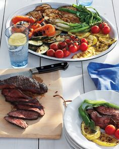 Grilled Steak and Summer Vegetable Salad... Made this on a warm evening and it was a PERFECT summer dinner. How could anyone go wrong with balsamic/honey/olive oil/garlic/rosemary marinated meat and veggies?
