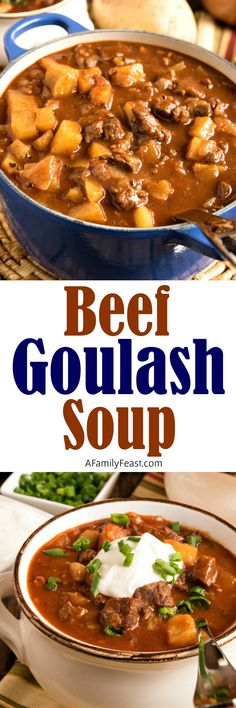 Hearty and delicious Beef Goulash Soup includes tender chunks of beef and potatoes in a rich tomato and paprika broth.