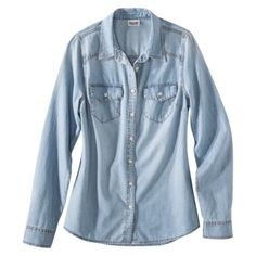 55ad2ed9844 Mossimo Supply Co. Juniors Long Sleeve Denim Button Down Top - Assorted  Colors Shirt Jacket