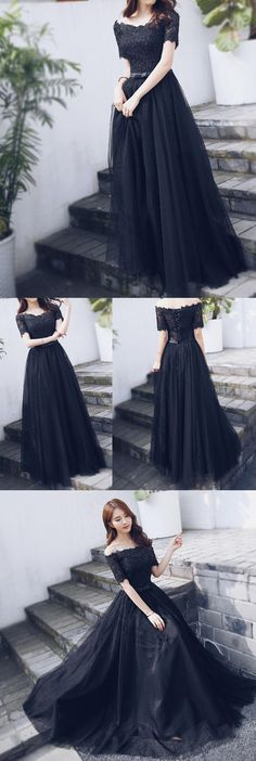 Off Shoulder Black Lace Fashion A-line lace Up Back Teenager Prom Dresses,PD00016#promdress k#prom#fashion