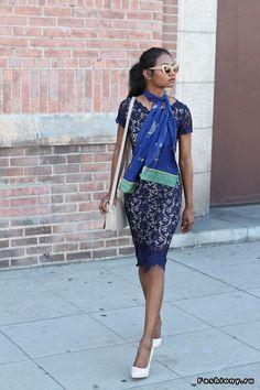 Tiffany Borland, blue, dress, scarf, feminity style, romantic