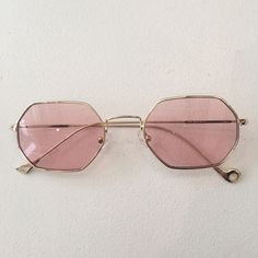 super cool glassesoctagon fine framespink tinted lenses