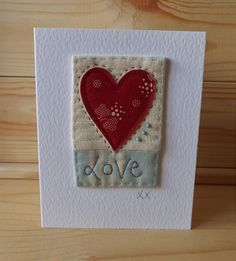 Hand Sewn Card by Lindsey Brandish on Etsy Fabric Cards, Fabric Postcards, Embroidery Cards, Machine Embroidery, Sewing Cards, Fabric Pictures, Card Making Inspiration, Creative Cards, Anniversary Cards