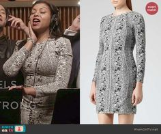 Cookie's grey long sleeve snake print dress on Empire. Outfit Details: http://wornontv.net/46808/ #Empire
