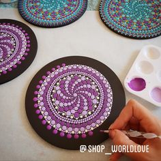 Purple mix wood art in the making. First layer of dots being added! Rock Painting Patterns, Rock Painting Designs, Wood Painting Art, Oil Painting Flowers, Dot Painting, Stone Painting, Wood Art, Mandala Artwork, Mandala Painting