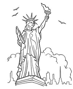 Printable Statue of Liberty coloring page. Free PDF