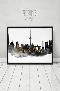 Berliner Skyline drucken Aquarell Poster von ArtPrintsVicky auf Etsy