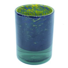 This listing is for one Home Decoration Handmade Blue and Yellow Thick Walled Recycled Glass Vase With 4 cm Bottom, H = 17 cm. Price £22.99