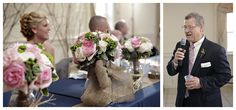 Wedding centerpieces with burlap Burlap Bows, Wedding Centerpieces, Diy Wedding, Table Decorations, Country, Girlfriends, Rural Area, Country Music, Dinner Table Decorations