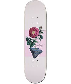 """Built from Primitive quality, the Rodriguez Eternal 8.25"""" Skateboard Deck features a fragrant graphic in the middle of the deck depicting a budding rose with a light pink background. The deck has a 7-ply maple construction with an overall slight concave f"""