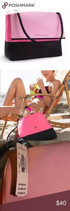 """Victoria's Secret beach cooler tote bag Victoria's Secret cooler bag ! Perfect for the beach , camping, hiking or picnic! This zipper cooler bag keeps all the drinks and edibles chill! It's padded, so it works as a great laptop case also :)  Retail: $65 . Reasonable offers welcomed !  Dimensions: 14"""" L x 5.5"""" W x 11"""" H 100 % neoprene. Victoria's Secret Bags Totes"""