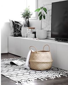 seagrass basket + rug + white potted plants