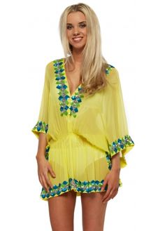 Lindsey Brown Yellow Silk Manhattan Kaftan With Chunky Sequins