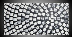 Painting Art Paintings Black and White Squares by acrylkreativ
