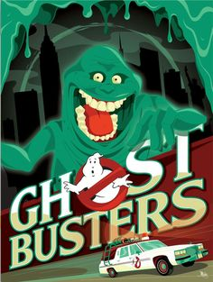 Slimer poster for Ghostbusters by Mike Mahle